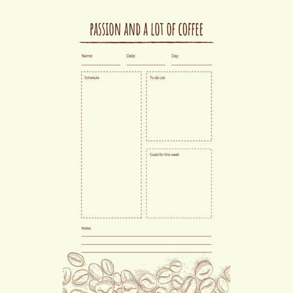 Coffee Journal Template