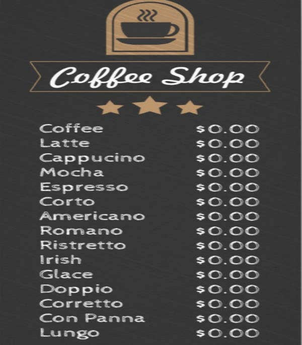 Coffee Shop Photo Menu Template