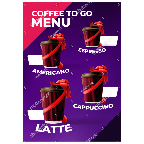 Coffee Shop Printable Menu Card Template