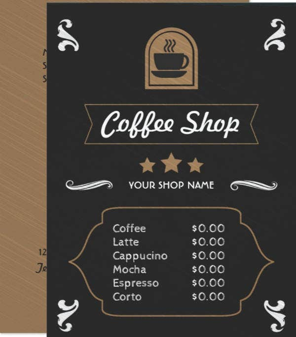 Coffee Shop Retro Menu Card