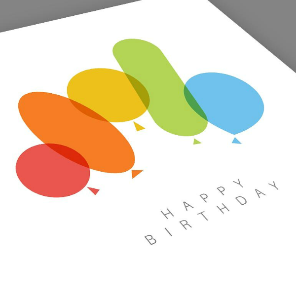 colorful balloons personalized birthday card template