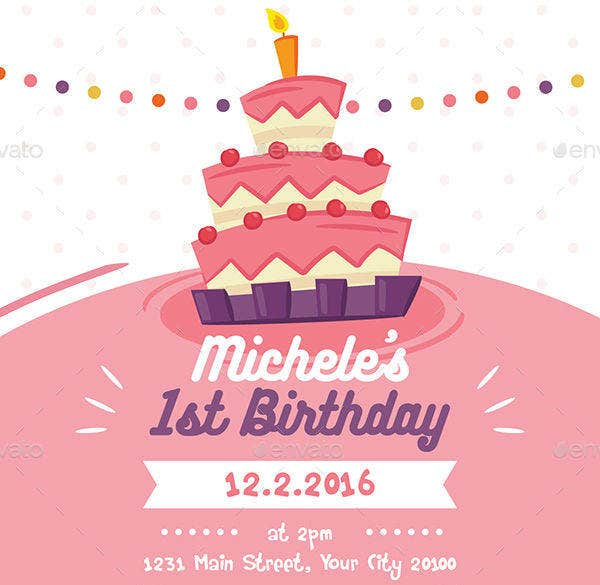 Colorful Birthday Invitation Card for Kids
