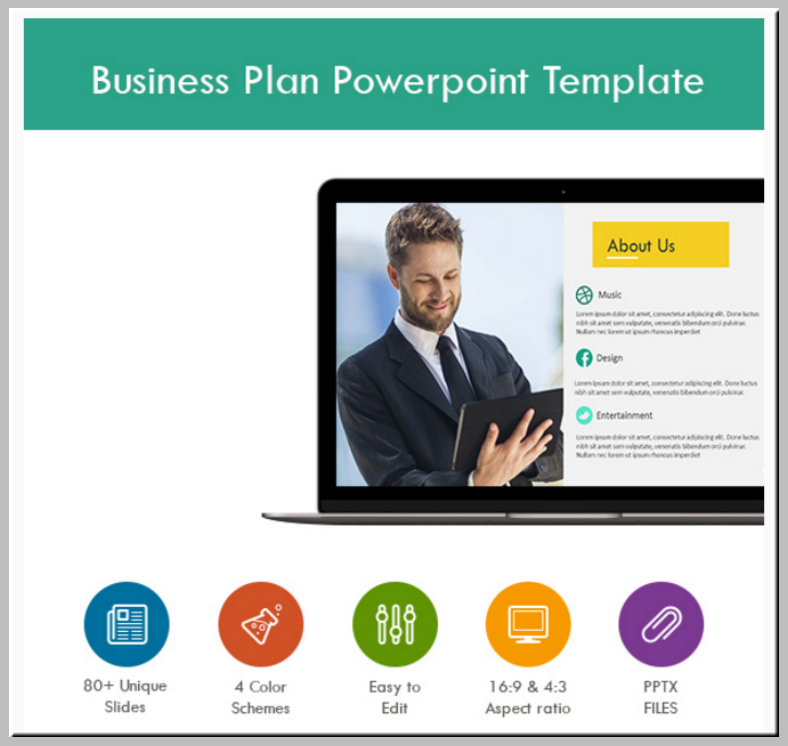 colorful business plan powerpoint template 788x746