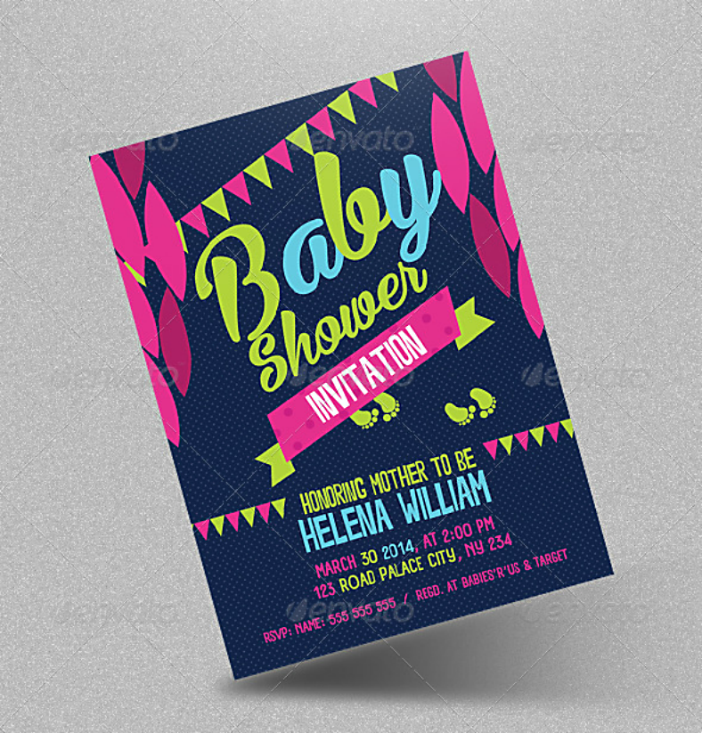Colorful Festival Baby Shower Invitation Template