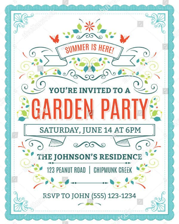 Colorful Garden Party Invitation Template