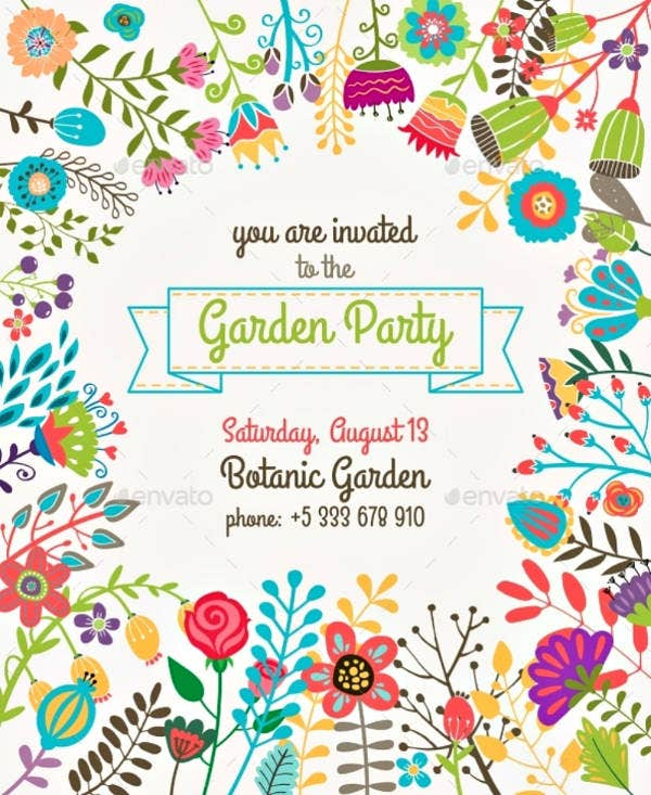 Colorful Summer Garden Party Invitation Template