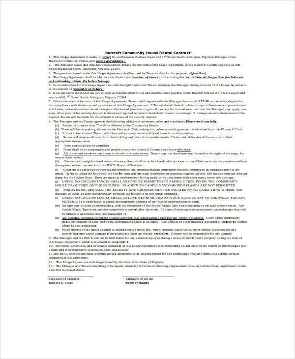 community house rental contract agreement