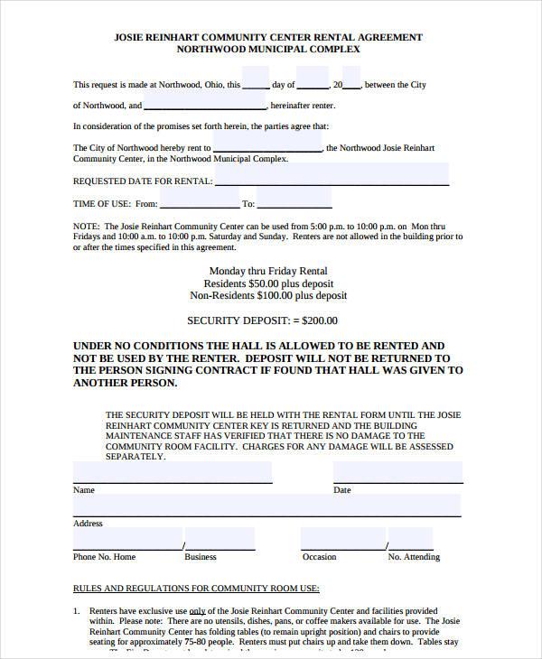 community room rental agreement