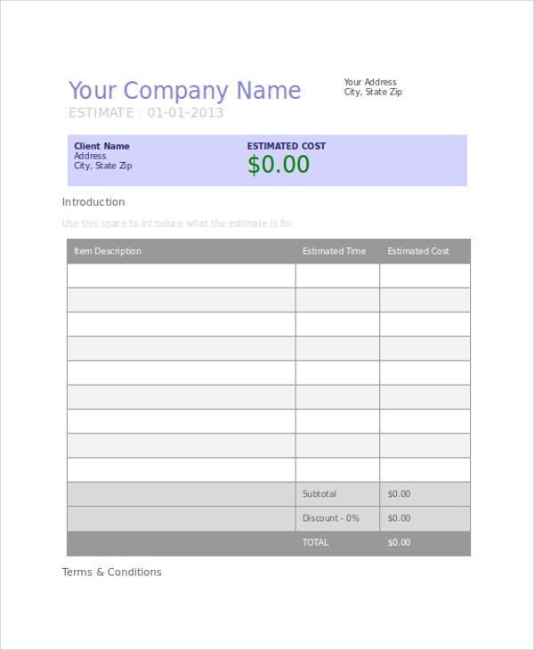 company project estimate