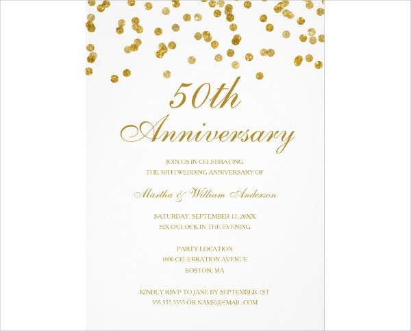 Confetti 50th Wedding Anniversary Card