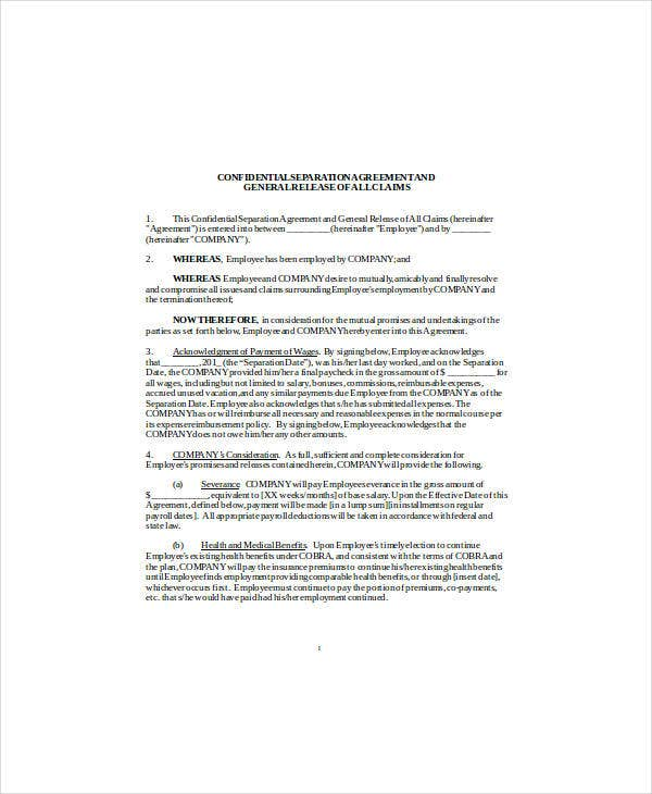 confidentiality separation agreement
