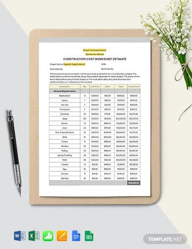 construction cost estimate worksheet template