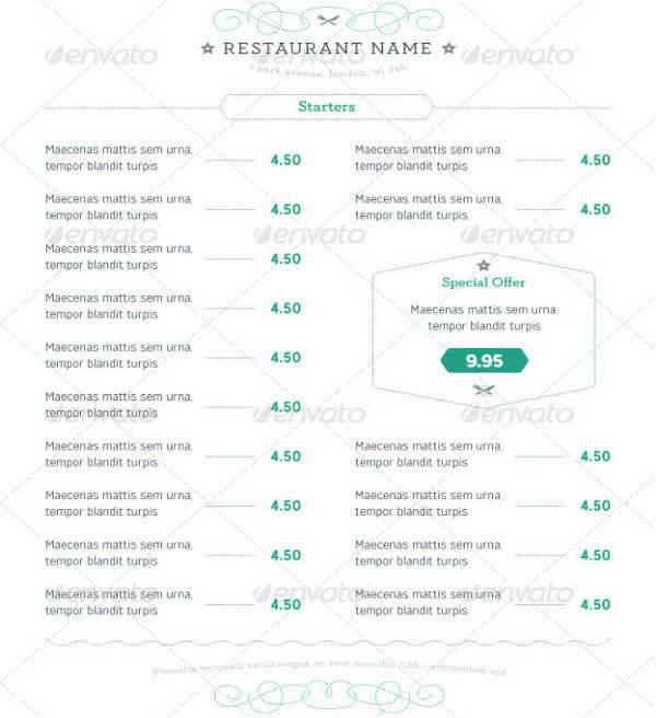Contemporary Restaurant Menu Design