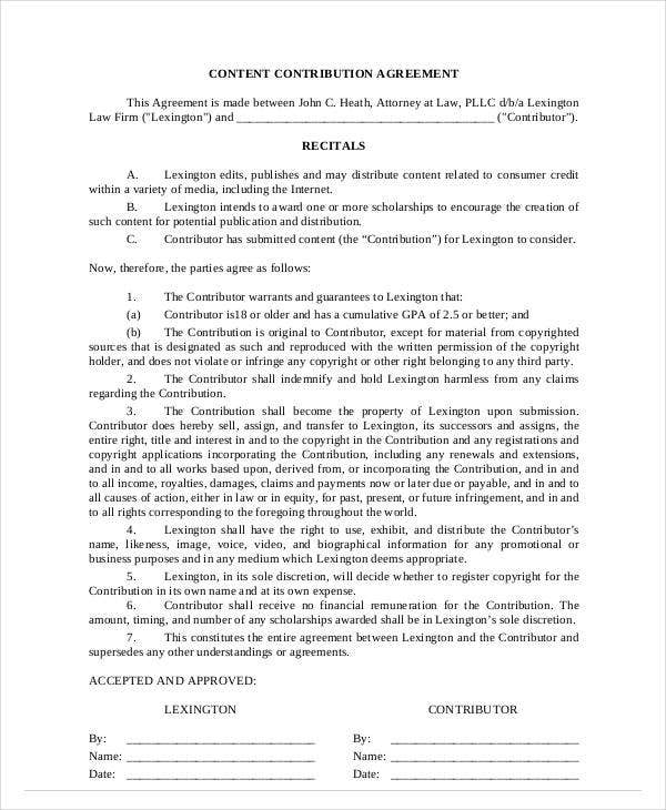 content contribution agreement