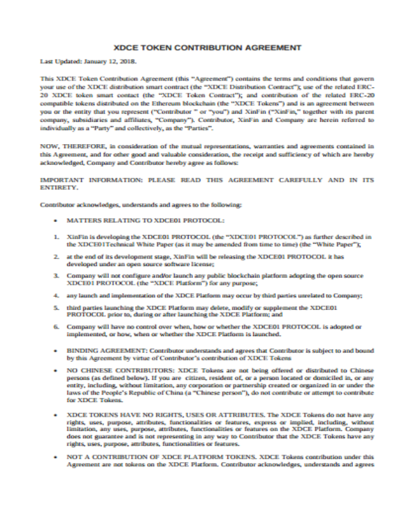 contribution agreement sample template