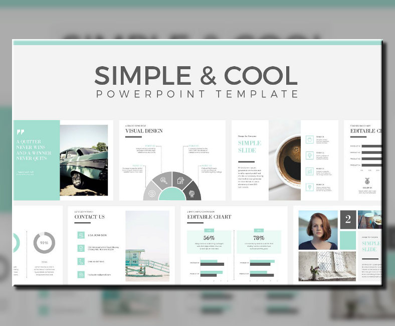 cool clean powerpoint template 788x650