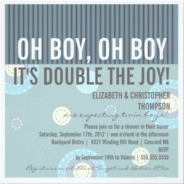 Couples Twins Baby Shower Invitation
