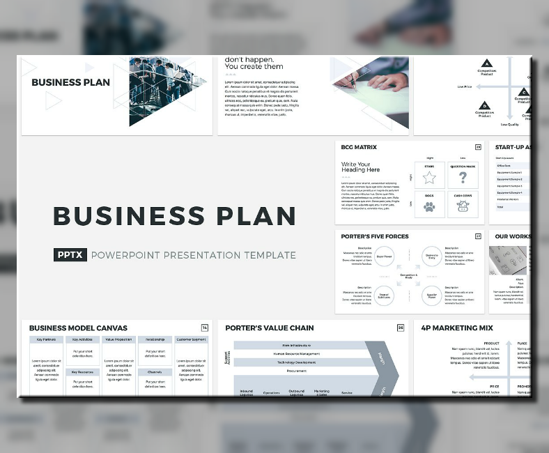 creative business plan powerpoint template 788x650