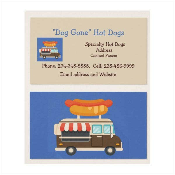 creative food cart business card
