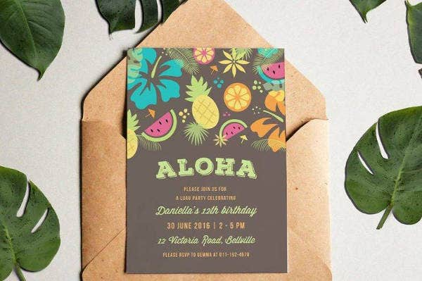 Creative Luau Party Invitation Template