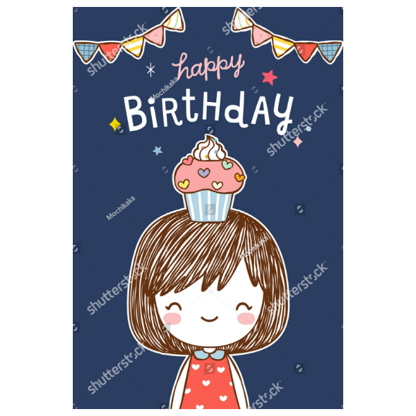 Cupcake Head Girls Birthday Card Template
