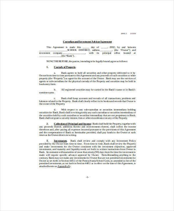 custodian and investment advisor agreement