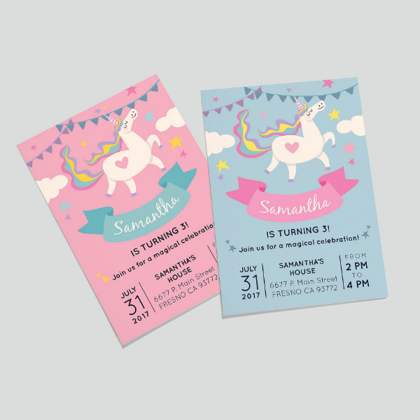 Cute Unicorn Girls Birthday Card Template