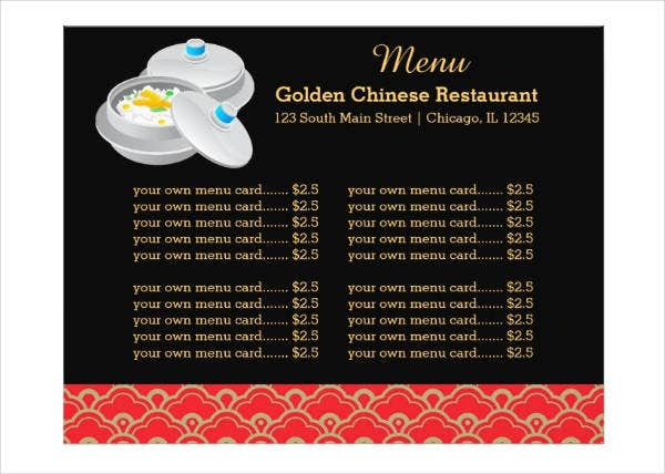Dark Chinese Menu Template