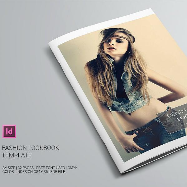 denim fashion indesign lookbook template