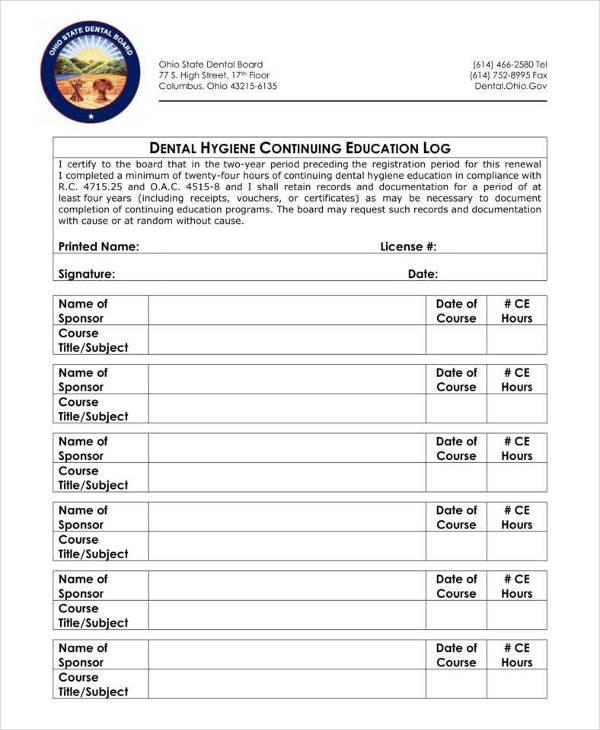 dental education log note template