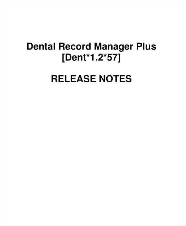 Dental Record Release Note Template