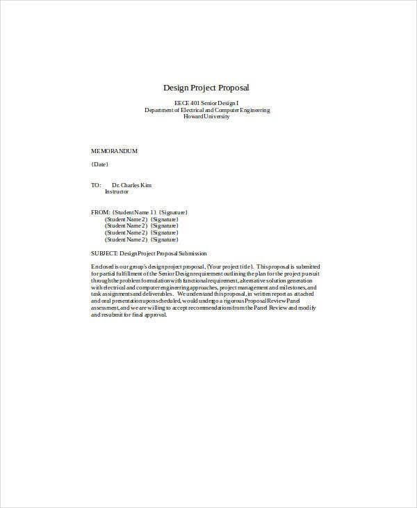 design project proposal format