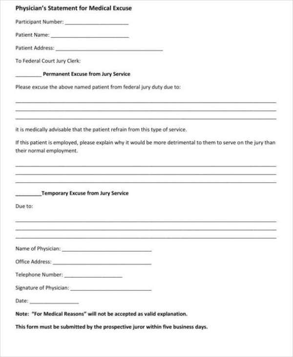 Doctor's Excuse Note Template
