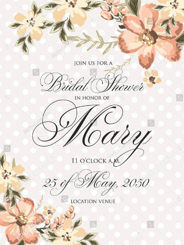 Dot Pattern Rustic Bridal Shower Invitation