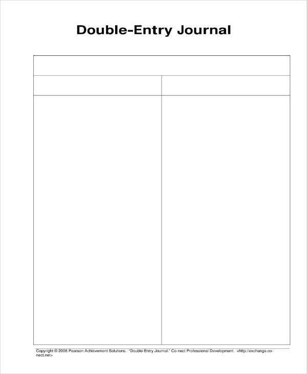 Double Entry Journal Blank Template