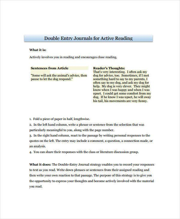double entry journal for active reading