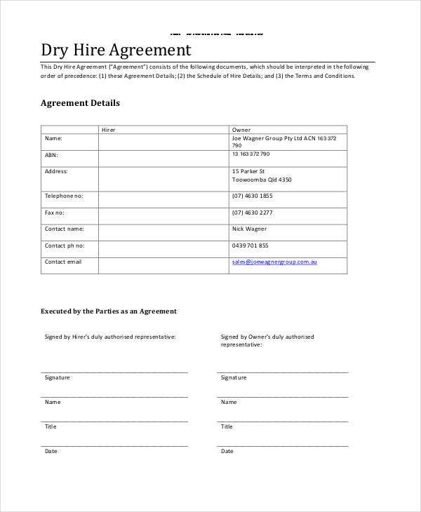 dry hire agreement