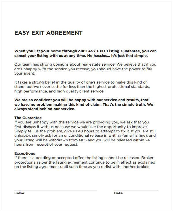 easy exit agreement