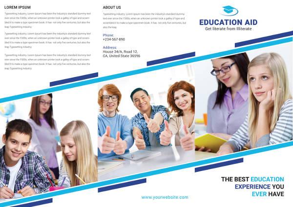 education tri fold brochure template