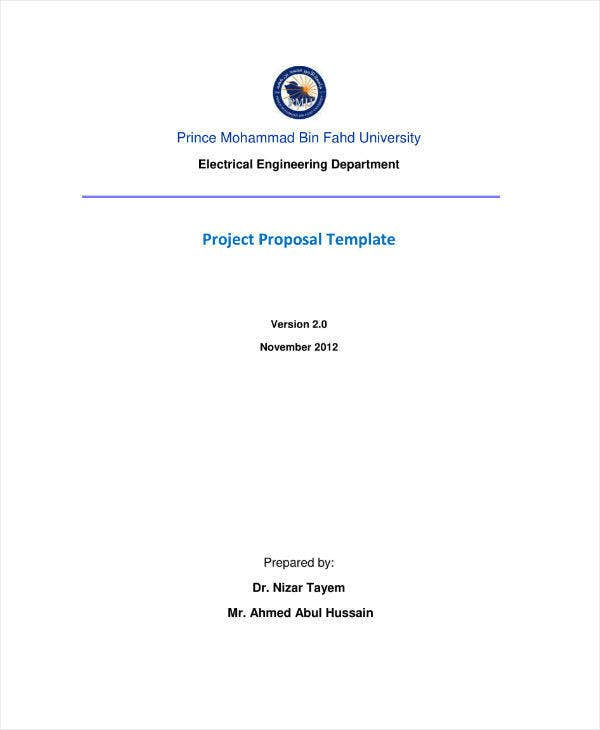 Electrical Engineering Project Proposal Example