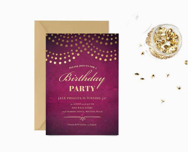 Elegant 50th Birthday Party Invitation Template