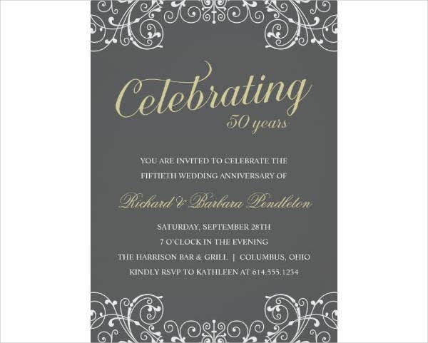 Elegant 50th Wedding Anniversary Party Card