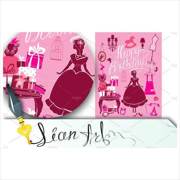 Elegant Girl Birthday Card Template