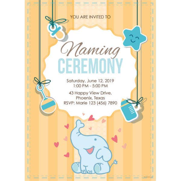 elegant naming ceremony invitation