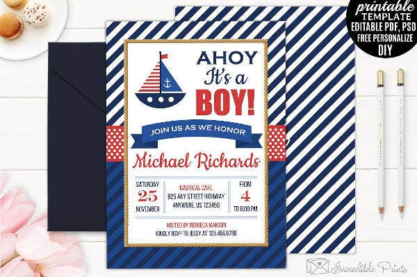 Elegant Nautical Baby Shower Invitation
