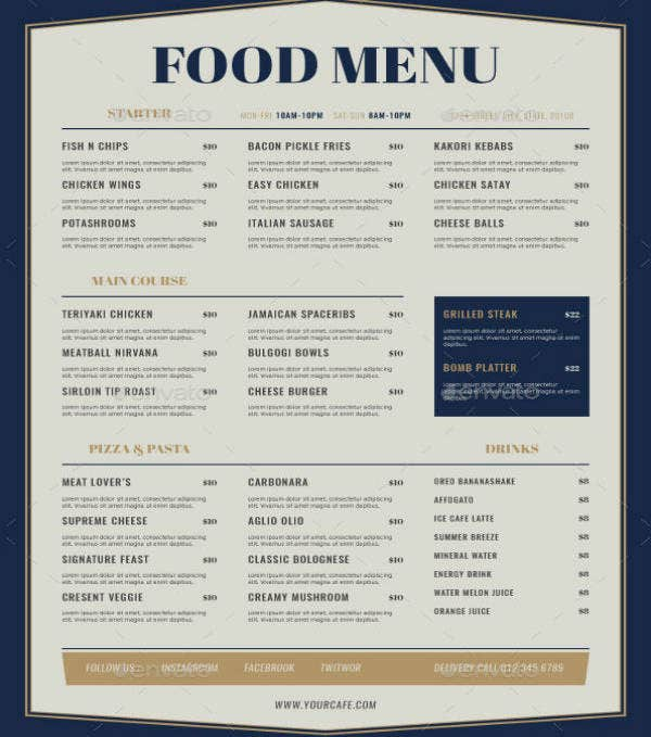 Elegant Starter Food Menu Design