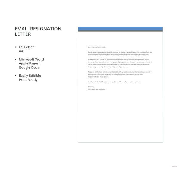 23+ Email Resignation Letter Templates - PDF, DOC | Free & Premium ...