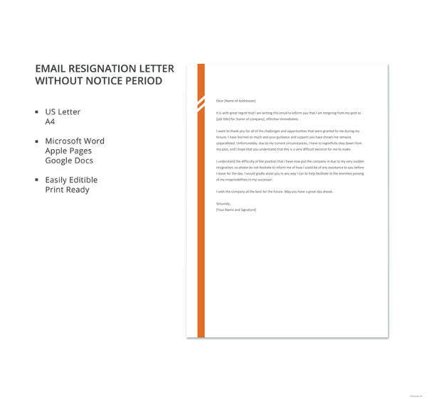 email resignation letter without notice period template