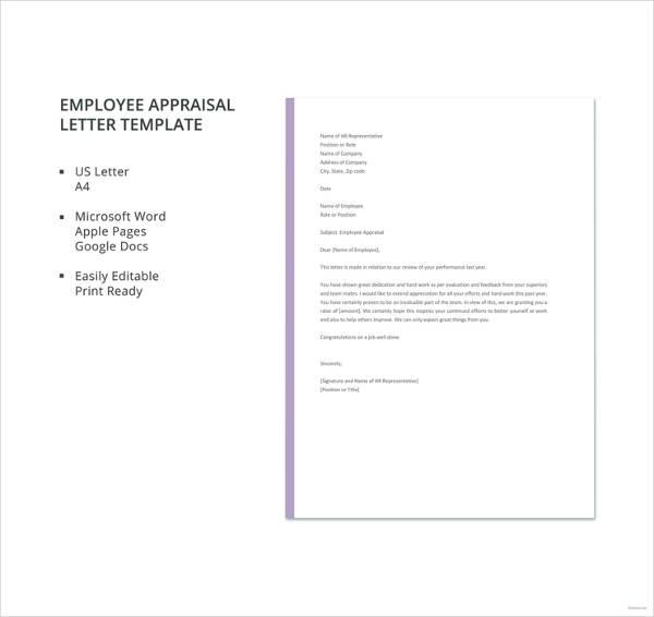 employee appraisal letter template