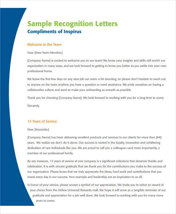 employee appreciation recognition letter